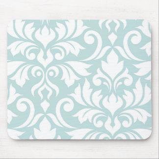 Flourish Damask Art I White on Duck Egg Blue Mouse Mat