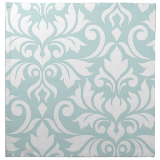 Flourish Damask Art I White on Duck Egg Blue Napkin