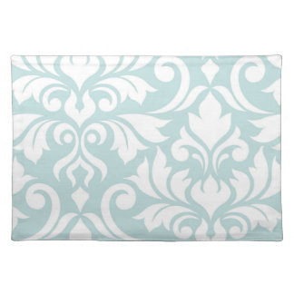 Flourish Damask Art I White on Duck Egg Blue Placemat