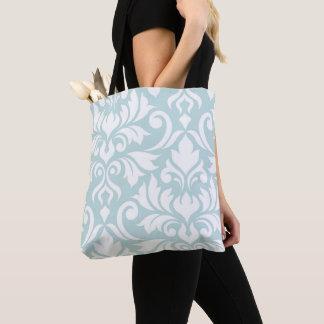 Flourish Damask Art I White on Duck Egg Blue Tote Bag