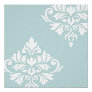 Flourish Damask Art II White on Duck Egg Blue Poster
