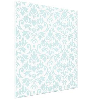 Flourish Damask Big Pattern Duck Egg Blue on White Canvas Print