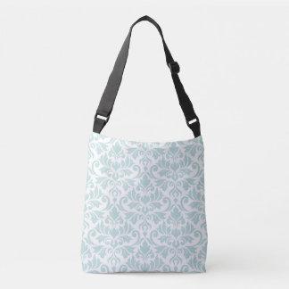 Flourish Damask Big Pattern Duck Egg Blue on White Crossbody Bag