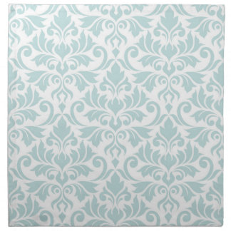 Flourish Damask Big Pattern Duck Egg Blue on White Napkin