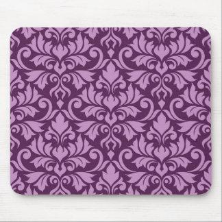 Flourish Damask Big Pattern Pink on Plum Mouse Pad