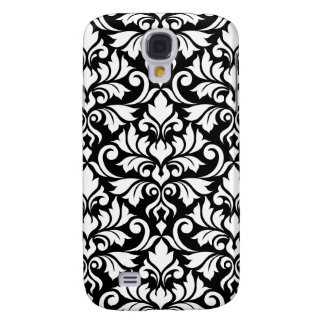 Flourish Damask Big Pattern White on Black Galaxy S4 Case