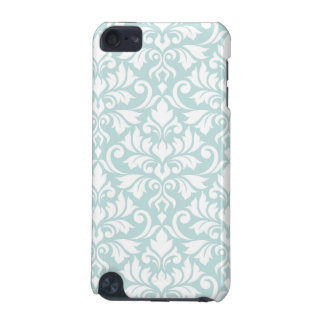 Flourish Damask Big Pattern White on Duck Egg Blue iPod Touch (5th Generation) Covers