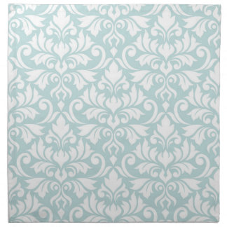 Flourish Damask Big Pattern White on Duck Egg Blue Napkin