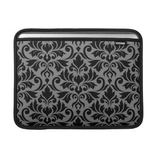 Flourish Damask Lg Pattern Black on Gray Sleeve For MacBook Air