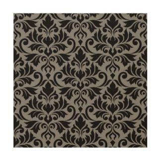 Flourish Damask Lg Pattern Black on Gray Wood Print