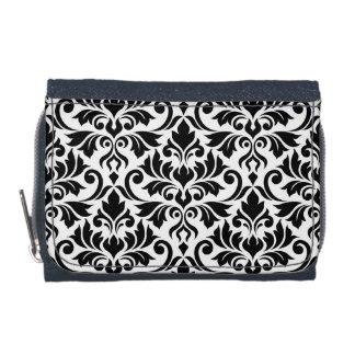 Flourish Damask Lg Pattern Black on White Wallet