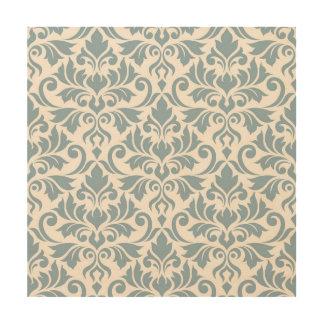 Flourish Damask Lg Pattern Blue on Cream Wood Wall Art