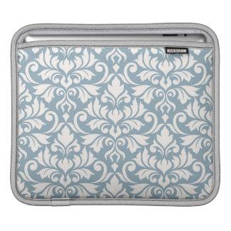 Flourish Damask Lg Pattern Cream on Blue iPad Sleeve
