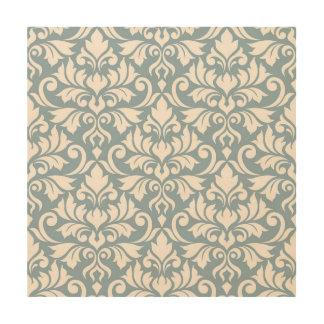 Flourish Damask Lg Pattern Cream on Blue Wood Print