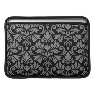 Flourish Damask Lg Pattern Gray on Black Sleeve For MacBook Air