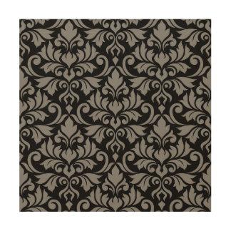 Flourish Damask Lg Pattern Gray on Black Wood Wall Decor