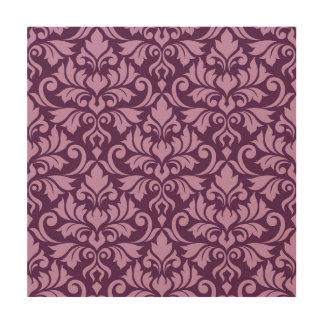 Flourish Damask Lg Pattern Pink on Plum Wood Wall Decor