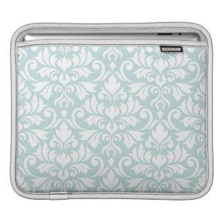 Flourish Damask Lg Pattern White on Duck Egg Blue iPad Sleeve