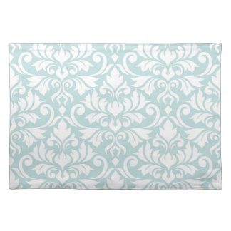 Flourish Damask Lg Pattern White on Duck Egg Blue Placemat