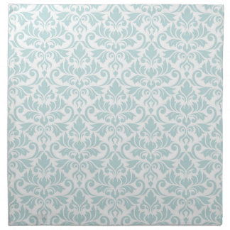 Flourish Damask Pattern Duck Egg Blue on White Napkin
