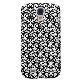 Flourish Damask Pattern White on Black Galaxy S4 Case