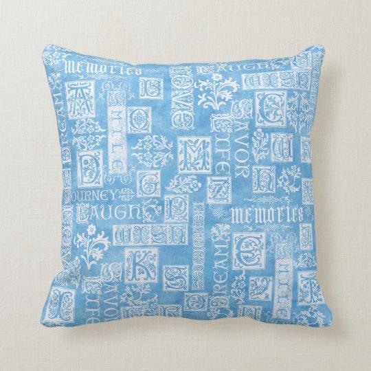 Flourish Design Verse Winter Blue Cushion