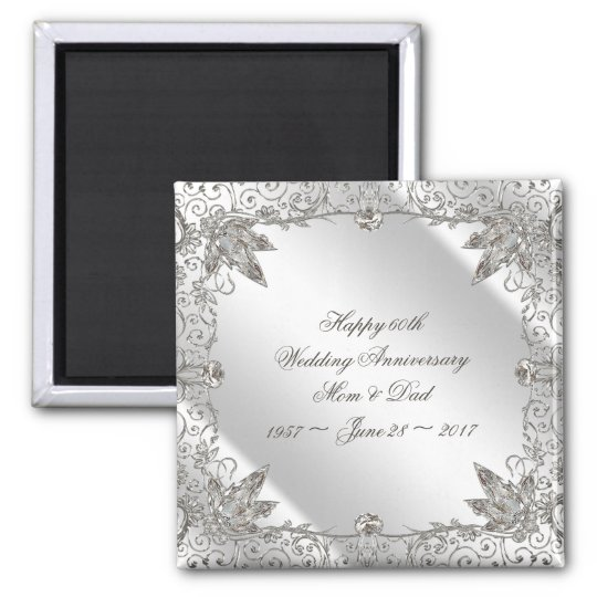 Flourish Diamond 60th Wedding Anniversary Magnet