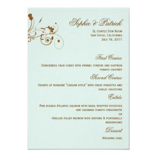 Flourish Elegance Wedding Menu Card - Sky Blue 13 Cm X 18 Cm Invitation Card