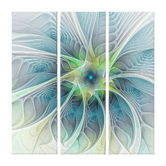 Flourish Fantasy Modern Blue Green Flower Triptych Canvas Print