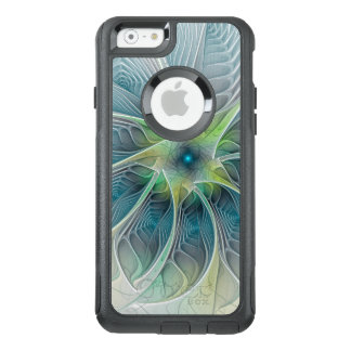 Flourish Fantasy Modern Blue Green Fractal Flower OtterBox iPhone 6/6s Case