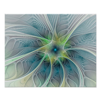 Flourish Fantasy Modern Blue Green Fractal Flower Poster