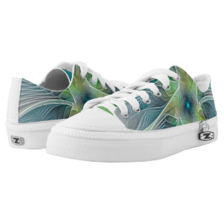 Flourish Fantasy Modern Blue Green Fractal Flower Printed Shoes