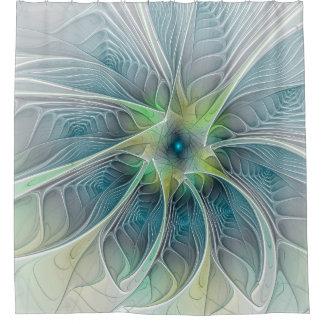 Flourish Fantasy Modern Blue Green Fractal Flower Shower Curtain