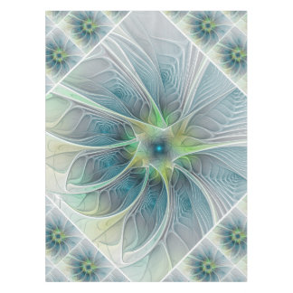 Flourish Fantasy Modern Blue Green Fractal Flower Tablecloth