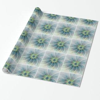 Flourish Fantasy Modern Blue Green Fractal Flower Wrapping Paper
