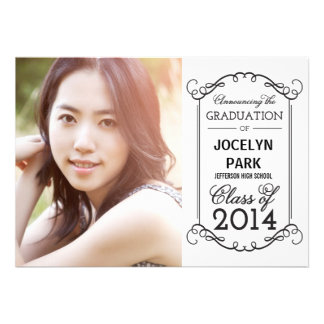 Flourish Frame Graduation Invitation Personalized Invitation