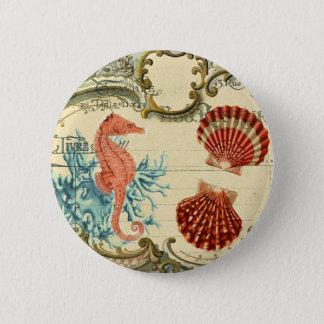 flourish french modern vintage seashell seahorse 6 cm round badge