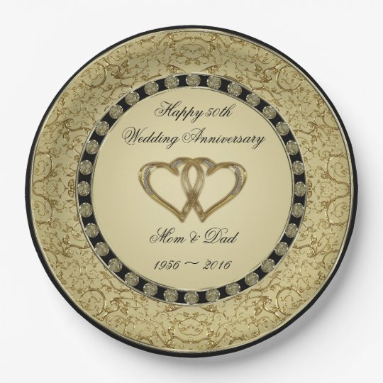 Flourish Golden Wedding Anniversary Paper Plate