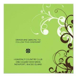 flourish; green reception 13 cm x 13 cm square invitation card