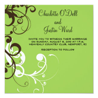 flourish; green wedding 13 cm x 13 cm square invitation card