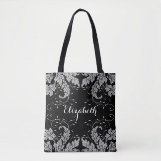Flourish Leaves & Floral Personalized Tote (black)