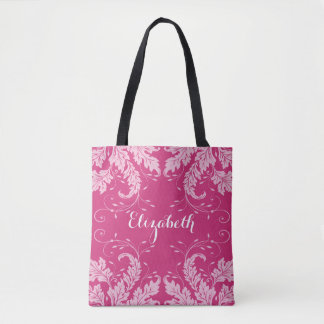 Flourish Leaves & Floral Personalized Tote (pink)