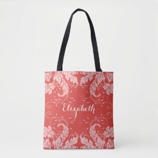 Flourish Leaves & Floral Personalized Tote (red)