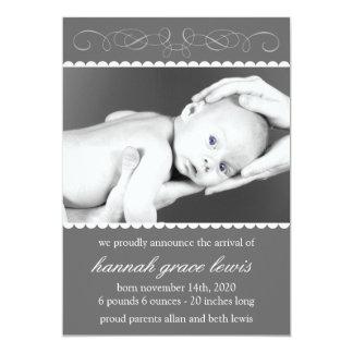 Flourish New Baby Announcements (Gray)