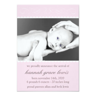 """Flourish New Baby Announcements (Pale Pink) 5"""" X 7"""" Invitation Card"""