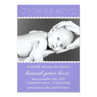 "Flourish New Baby Announcements (Plum Purple) 5"" X 7"" Invitation Card"