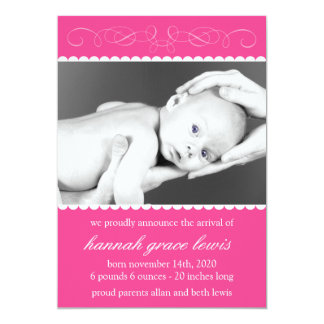 "Flourish New Baby Announcements (Raspberry Pink) 5"" X 7"" Invitation Card"
