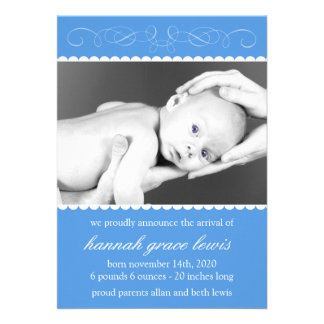 Flourish New Baby Announcements Royal Blue
