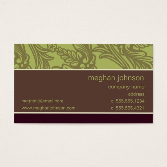 Flourish Olive Chic Business Card Template