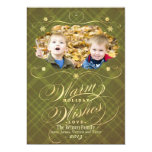 Flourish Plaid Calligraphy Warm Wishes Photo Card 13 Cm X 18 Cm Invitation Card